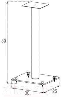 Стойка для ТВ/аппаратуры Sonorous SP 100-B-HBLK - габаритные размеры