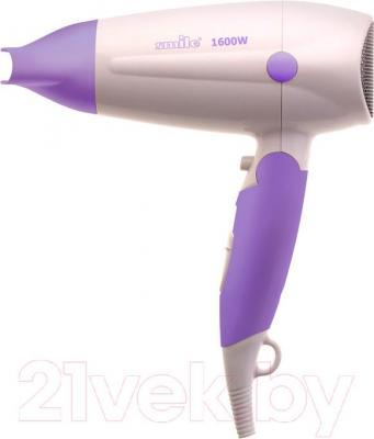 Компактный фен Smile HD 1035 (бело-фиолетовый) - общий вид