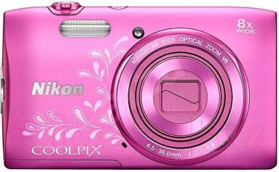 Компактный фотоаппарат Nikon Coolpix S3600 (Pink with Pattern) - общий вид