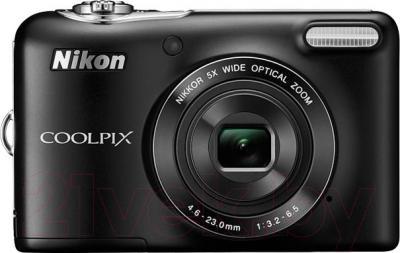Компактный фотоаппарат Nikon Coolpix L30 (Black) - вид спереди