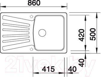 Мойка кухонная Blanco Nova 5S (517371) - габаритные размеры