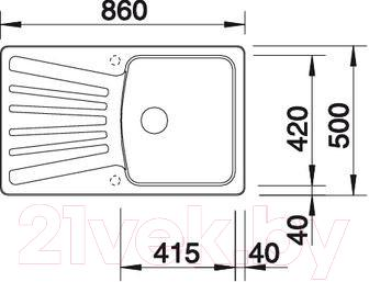 Мойка кухонная Blanco Nova 5S (510484) - габаритные размеры