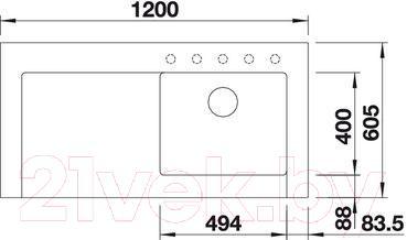 Мойка кухонная Blanco Modex-M60 (518891) - габаритные размеры