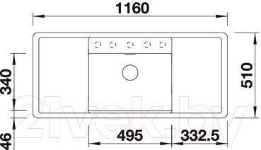 Мойка кухонная Blanco Alaros 6S (516562) - габаритные размеры