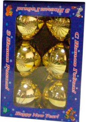 Набор ёлочных игрушек Mag 2000 032570 (Gold, 6 шт) - общий вид