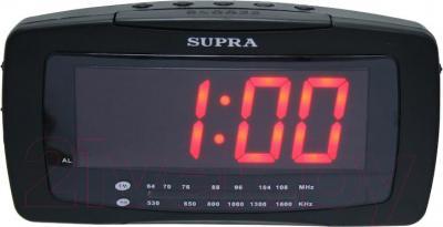 Радиочасы Supra SA-28FM (черно-красный) - общий вид