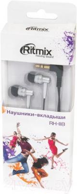 Наушники Ritmix RH-118 (серебристый) - в упаковке