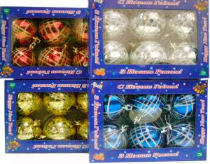 Набор ёлочных шаров Mag 2000 032600 (Silver, 6 шт) - общий вид наборов различных цветов