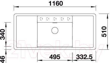 Мойка кухонная Blanco Alaros 6S (516556) - габаритные размеры