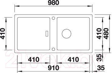 Мойка кухонная Blanco Adon XL 6S / 519621 - габаритные размеры
