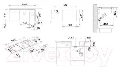 Мойка кухонная Blanco Axia II 6 S (516822) - габаритные размеры