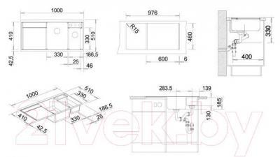 Мойка кухонная Blanco Axia II 6 S (518828) - габаритные размеры