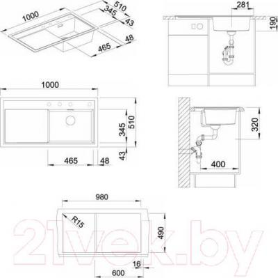 Мойка кухонная Blanco Zenar XL 6 S (519287) - габаритные размеры