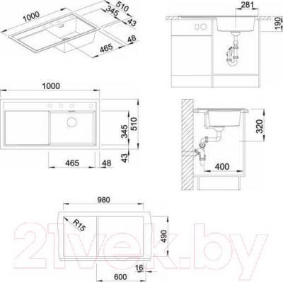 Мойка кухонная Blanco Zenar XL 6 S (519282) - габаритные размеры