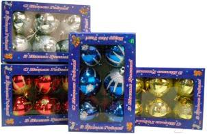 Набор ёлочных шаров Mag 2000 032679 (Silver, 6 шт) - общий вид наборов различных цветов