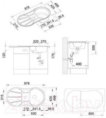 Мойка кухонная Blanco Cron 6 S (518845) - габаритные размеры