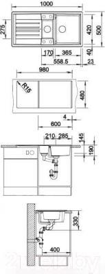Мойка кухонная Blanco Lexa 6 S (518860) - габаритные размеры