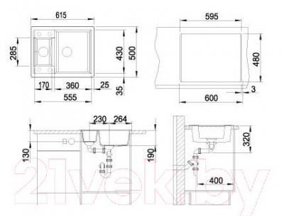 Мойка кухонная Blanco Metra 6 (518874) - габаритные размеры