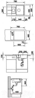 Мойка кухонная Blanco Metra 6 S Compact (513470) - габаритные размеры