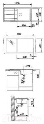Мойка кухонная Blanco Metra XL 6 S (515283) - габаритные размеры