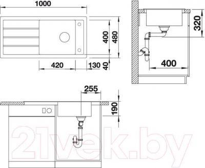 Мойка кухонная Blanco Mevit XL 6S (518890) - габаритные размеры