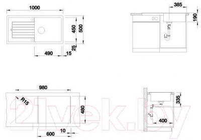 Мойка кухонная Blanco Zia XL 6S (517574) - габаритные размеры