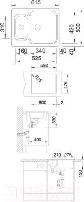 Мойка кухонная Blanco Nova 6 / 521371 - габаритные размеры