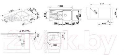 Мойка кухонная Blanco Nova 6S (517379) - габаритные размеры