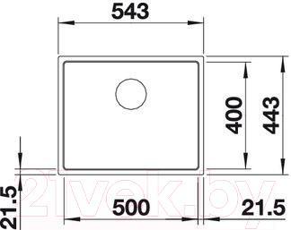 Мойка кухонная Blanco Subline 500-IF SteelFrame (519429) - габаритные размеры