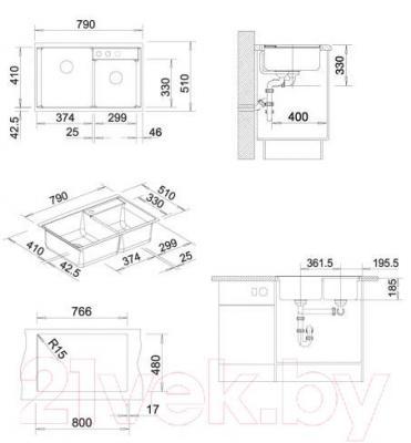 Мойка кухонная Blanco Axia II 8 (516883) - габаритные размеры