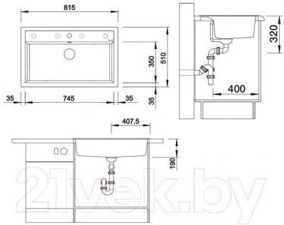 Мойка кухонная Blanco Dalago 8 (516636) - габаритыне размеры