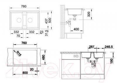 Мойка кухонная Blanco Lexa 8 (517340) - габаритные размеры