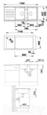 Мойка кухонная Blanco Lexa 8 S  (514701) - габаритные размеры