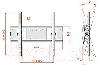 Кронштейн для телевизора Electric Light КБ-01-54 (белый) - габаритные размеры