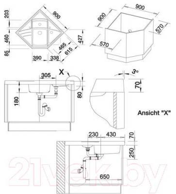 Мойка кухонная Blanco Modus-M 90 / 513251 - габаритные размеры