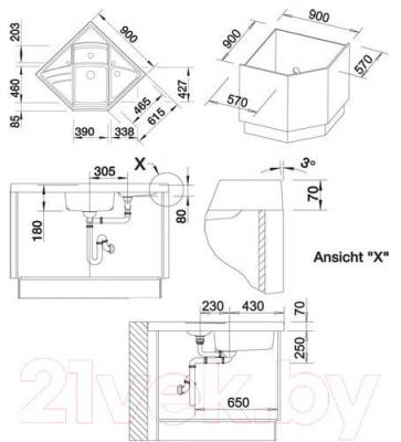Мойка кухонная Blanco Modus-M 90 (513256) - габаритные размеры