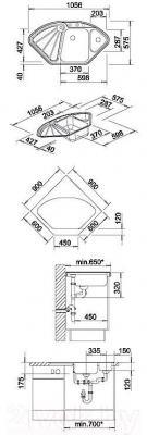Мойка кухонная Blanco Delta Silgranit (510000) - габаритные размеры