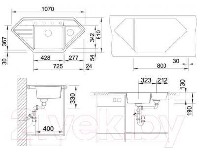 Мойка кухонная Blanco Lexa 9 E / 515101 - габаритные размеры