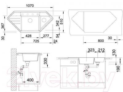 Мойка кухонная Blanco Lexa 9 E (515097) - габаритные размеры