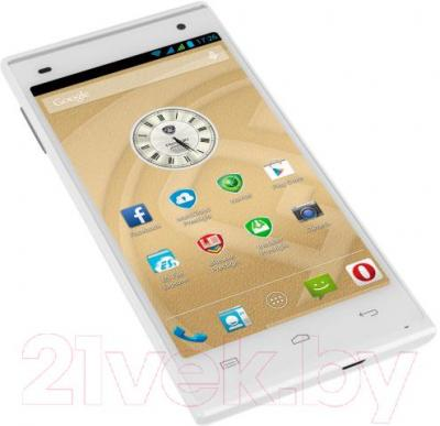 Смартфон Prestigio MultiPhone 5505 Duo (белый) - вид лежа
