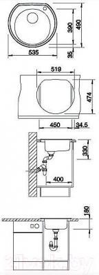 Мойка кухонная Blanco Rondoval (513312) - габаритные размеры
