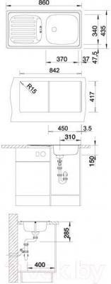 Мойка кухонная Blanco Flex (511917) - габаритные размеры