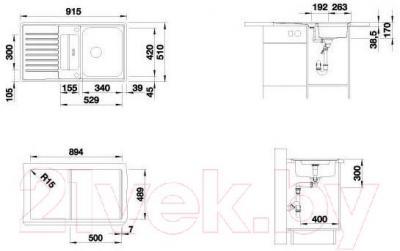 Мойка кухонная Blanco Classic Pro 5S-IF / 516849 - габаритные размеры