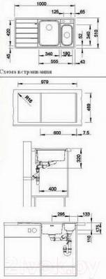 Мойка кухонная Blanco Axia II 6S-IF (516529) - габаритные размеры