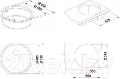 Мойка кухонная Blanco Ronis U (515920) - габаритные размеры