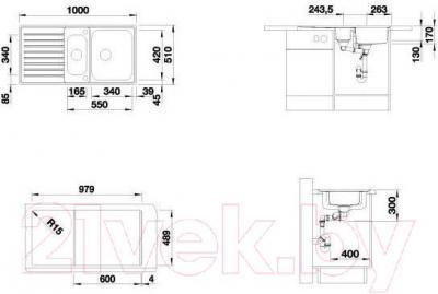 Мойка кухонная Blanco Classic Pro 6S-IF (516852) - габаритные размеры