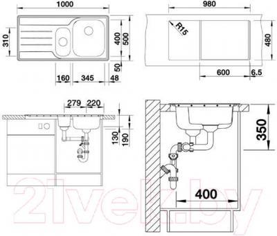 Мойка кухонная Blanco Median 6 S (512644) - габаритные размеры