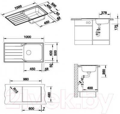 Мойка кухонная Blanco Median XL 6 S  (512738) - габаритные размеры