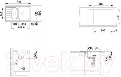 Мойка кухонная Blanco Livit 6 S Compact (515117) - габаритные размеры
