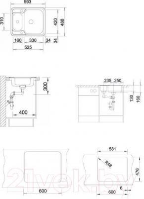 Мойка кухонная Blanco Lantos 6-IF (516676) - габаритные размеры